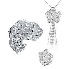 Жіночий комплект біжутерії (кольє, кільце, браслет) квіти мереживні Троянди покриття срібло 925