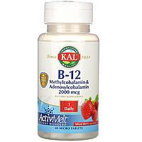 KAL, Витамин B-12 в форме аденозил метилкобаламина, ActivMelt, ягодное ассорти, 2000 мкг, 60 микротаблеток