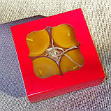 Подарочный набор круглых восковых чайных свечей 24г (4шт.) в коробке Красное Сердце, фото 4