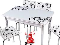Обеденная группа комплект кухонной мебели стол и стулья,Eli90 каленное стекло с оригинальным декором для кухни