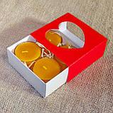 Подарунковий набір круглих воскових чайних свічок 24г (4шт.) в коробці Бежевий Крафт, фото 4