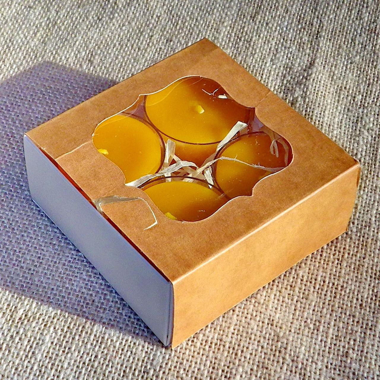 Подарунковий набір круглих воскових чайних свічок 24г (4шт.) в коробці Бежевий Крафт