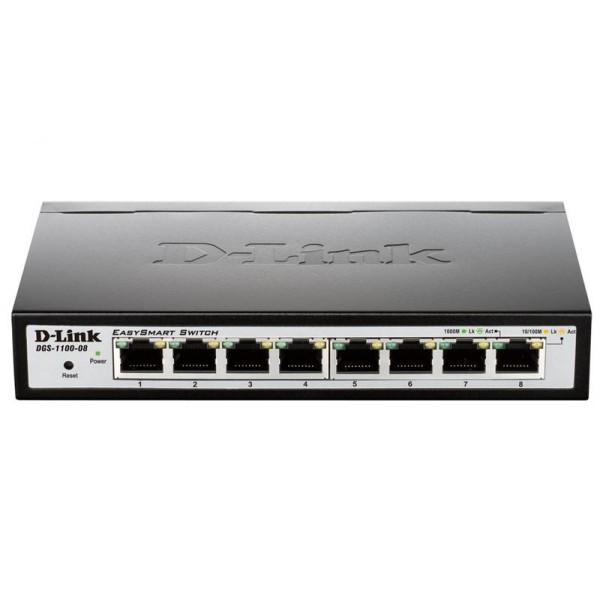 Коммутатор D-Link DGS-1100-08 (8*1Гбит, easysmart)