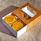 Подарочный набор круглых восковых чайных свечей 24г (4шт.) в коробке Бежевый Крафт, фото 2