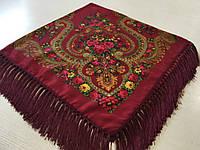 Хустина* в етнічному стилі з квітами та українським орнаментом колір бордовий розмір 110*110 см