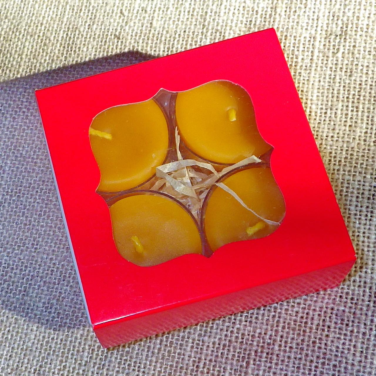 Подарочный набор круглых восковых чайных свечей 24г (4шт.) в Красной Коробке