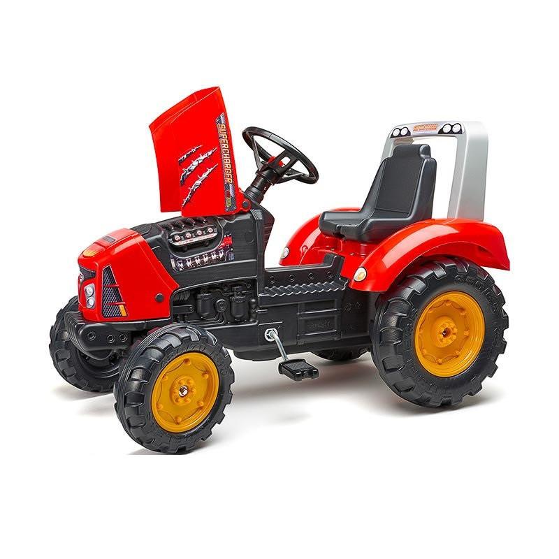 Педальний трактор з причепом великий з відкидним капотом червоний FALK 2020AB