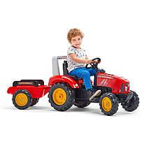 Педальний трактор з причепом великий з відкидним капотом червоний FALK 2020AB, фото 2