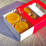 Подарочный набор круглых восковых чайных свечей 24г (4шт.) в Красной Коробке, фото 2