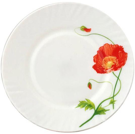 """Набір 6 обідніх тарілок """"Червоний мак"""" Ø22.5см, склокераміка"""