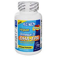 Deva, Омега-3 ДГК и ЭПК, Растительная продукция, 90 вегетарианских капсул