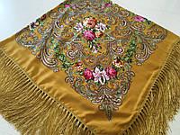 Хустина* в етнічному стилі з квітами та українським орнаментом колір гірчичний розмір 110*110 см