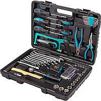 Набор ручного инструмента для домашнего мастера, CrV, кейс 89 предметов: головки, храповик, отвертки, ножовка
