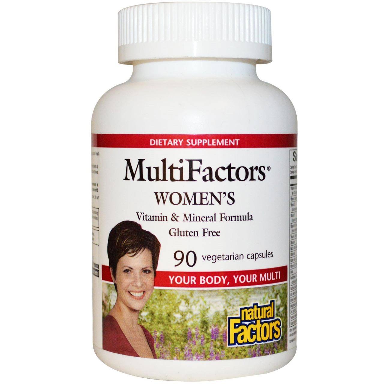 Natural Factors, MultiFactors, Women's Vitamin & Mineral Formula, Gluten Free, 90 Veggie Caps
