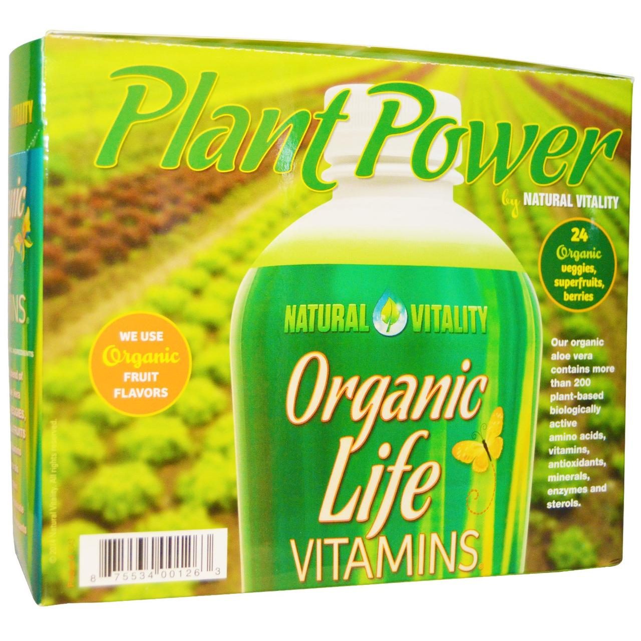Natural Vitality, Organic Life, витамины, со вкусами натуральных фруктов, 30 пакетиков, 1 жидкая унция (30 мл) каждый