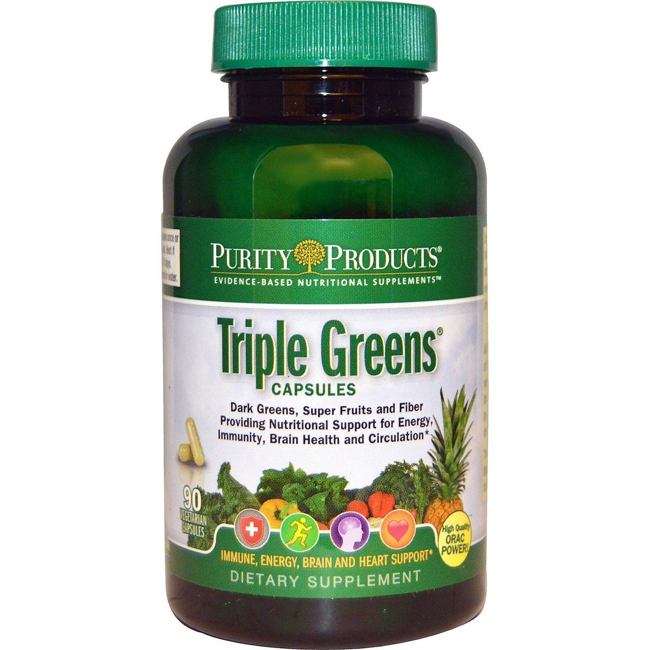 Purity Products, Triple Greens Capsules, 90 Veggie Caps