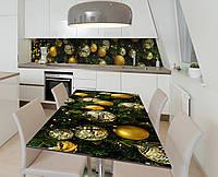 Виниловая наклейка на стол Новогоднее украшение Шары самоклейка пленка ПВХ 600х1200мм Текстуры Зелёный