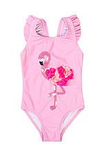 Детский цельный розовый купальник для девочки с фламинго 80/128 см Minoti