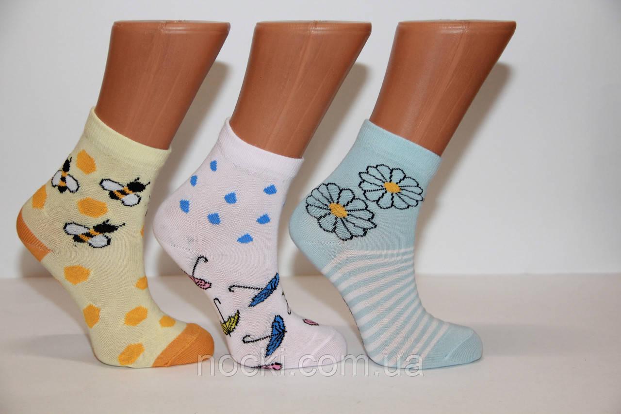Подростковые носки средние с хлопка Стиль Люкс  18-20  903 ромашки,пчелки,зонтики
