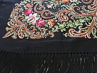 Хустина* в етнічному стилі з квітами та українським орнаментом колір чорний розмір 110*110 см