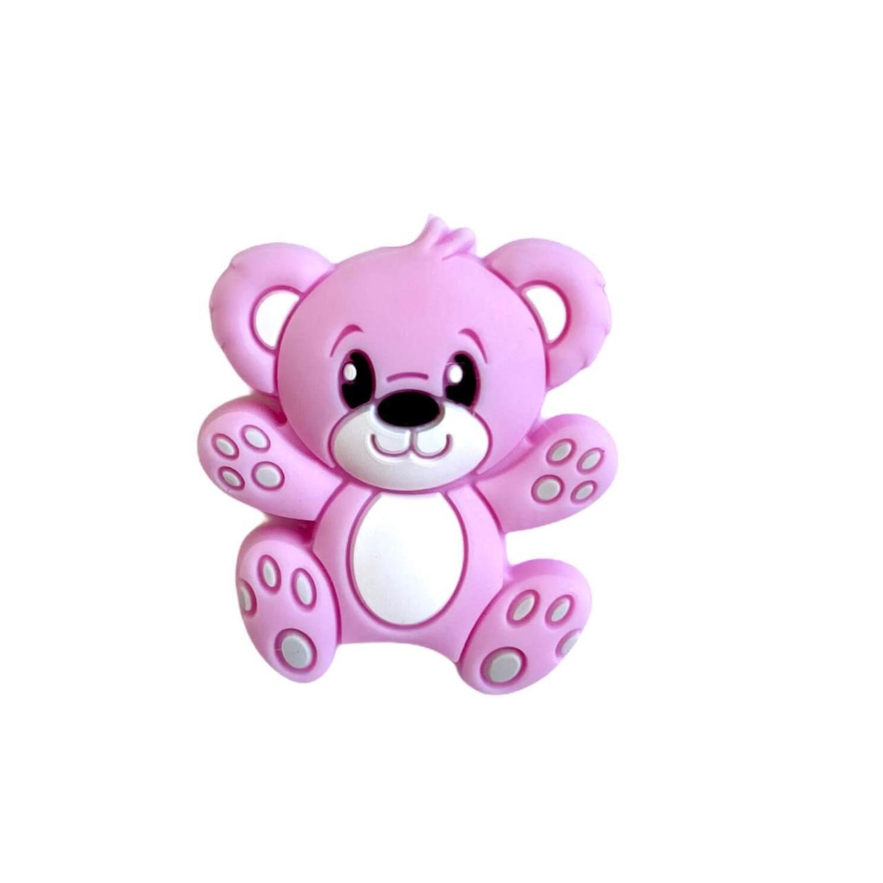 Міні Ведмедик Тедді (троянда кварц), силіконова намистина