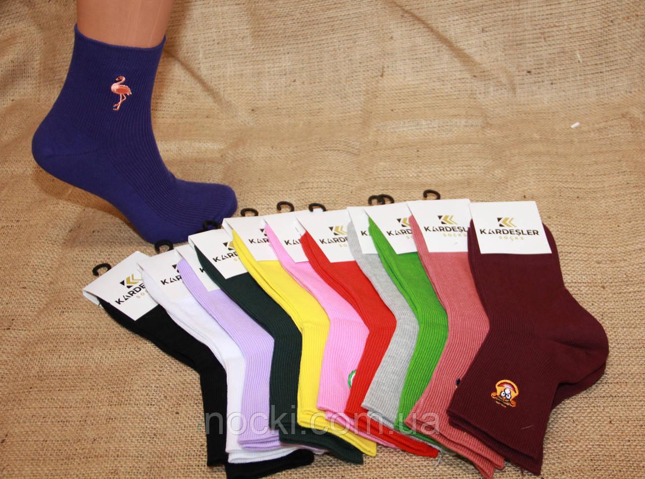 Жіночі шкарпетки середні з вишивкою Кардешлер яскраві асорті