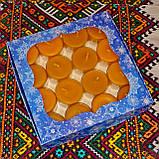 Подарочный набор круглых чайных восковых свечей 15г (16шт.) в коробке Бежевый Крафт, фото 3