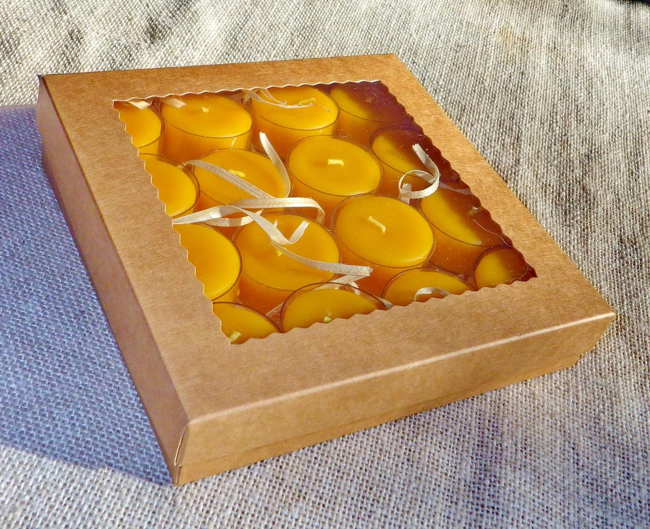 Подарочный набор круглых чайных восковых свечей 15г (16шт.) в коробке Бежевый Крафт