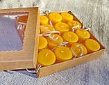 Подарочный набор круглых чайных восковых свечей 15г (16шт.) в коробке Бежевый Крафт, фото 2