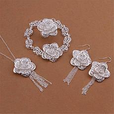 Жіночий комплект біжутерії (кольє, сережки, браслет, кільце) гарні квіти Троянди покриття срібло 925, фото 3