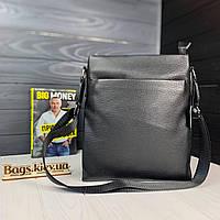 Кожаная мужская сумка через плечо вместительная барсетка из кожи черная кожа Турецкая