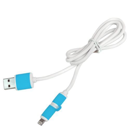 Кабель Pulso USB - Micro USB/Apple 1m blue (круглый) (CP-001BL)