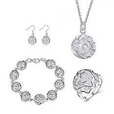 Красивий жіночий комплект біжутерії (кольє, сережки, браслет, кільце) Срібні квіти покриття срібло 925