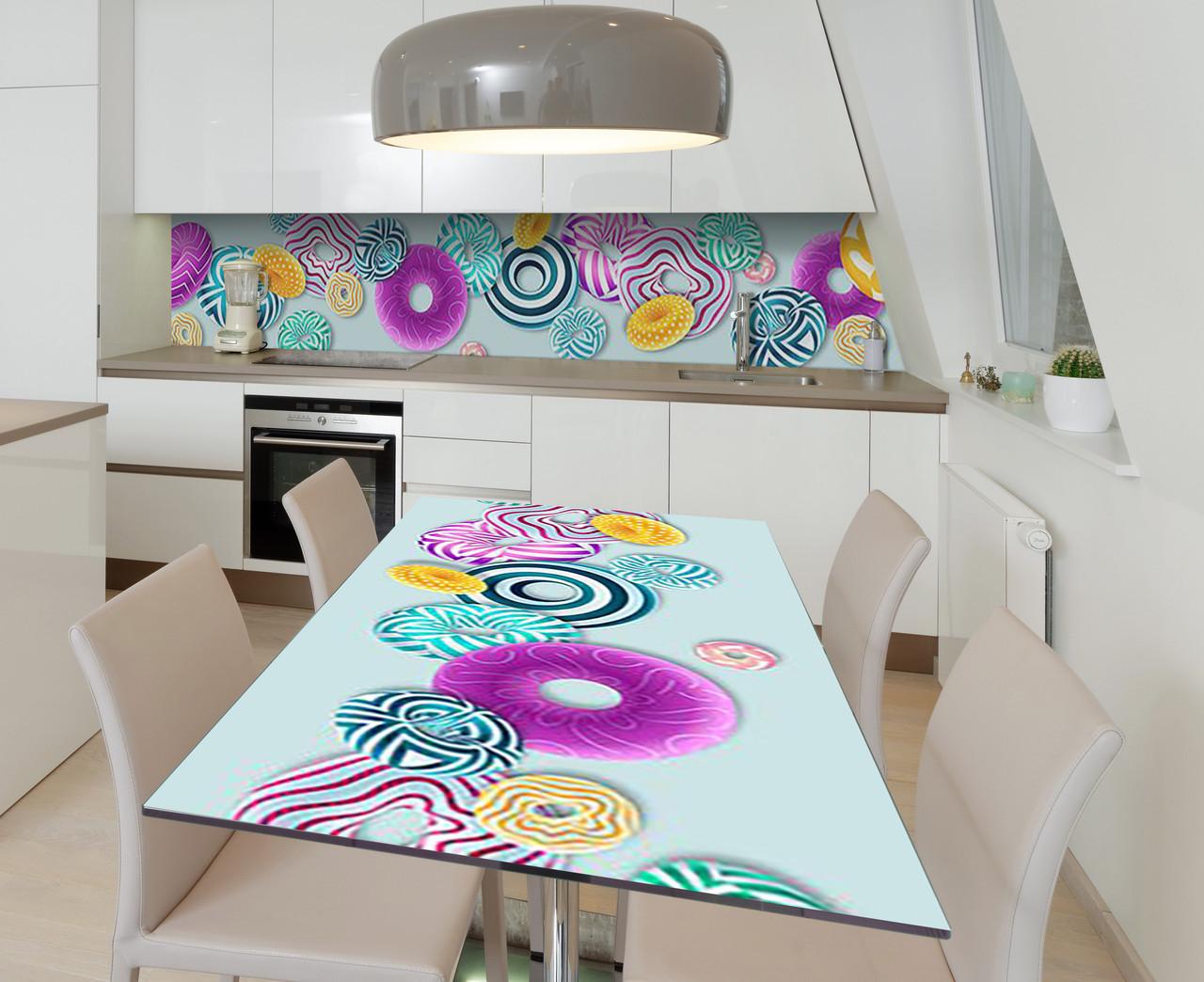 Виниловая наклейка на стол Яркие пончики сферы самоклейка пленка ПВХ 600х1200мм Еда Голубой