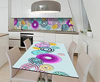 Виниловая наклейка на стол Яркие пончики сферы самоклейка пленка ПВХ 600х1200мм Еда Голубой, фото 1