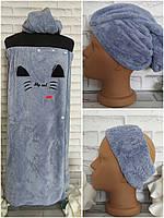 Набор для сауны бани 3в1 полотенце р. 75х125 см микрофибра плюш с челмой и повязка для волос, фото 1