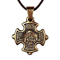 Крест нательный криновидный Матрона Святая блаженная Матрона Московская Металл медненный 3х2х0,2 см (19666)