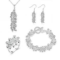 Жіночий комплект біжутерії (кольє, сережки, браслет, кільце) Срібні грона покриття срібло 925