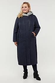 Демисезонное женское синее пальто миди из плащевки, отделка из пальтовой ткани, большой размер от  48 до 64