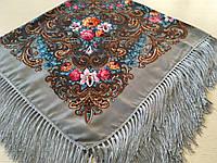Хустина* в етнічному стилі з квітами та українським орнаментом колір сірий розмір 110*110 см