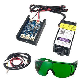 Мощный лазер для резки гравировки 500мВт 405нм TTL и защит. очки