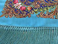 Хустина* в етнічному стилі з квітами та українським орнаментом колір блакитний розмір 110*110 см