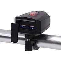 USB мото зарядка на кермо,CS-758A1  2 х USB, 12-24 V WUPP, на руль