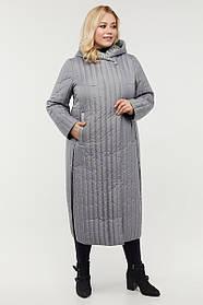 Замечательное серое женское пальто стеганое, по бокам кнопки, большой размер от  48 до 64