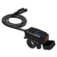 USB мото зарядка на кермо з вольтметром, 2 х USB, 12-24 V WUPP, + кріплення під болт кріплення на кермо Синій
