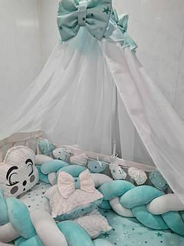 Бирюзовый комплект постельного белья в кроватку Набор постели  в кроватку для малыша с защитой