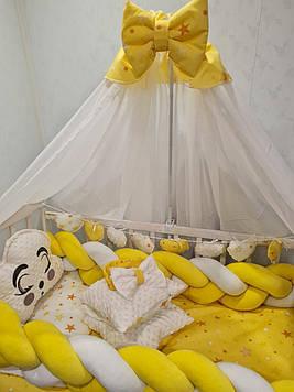 Набор постельного белья в кроватку для новорожденного Комплект детского постельного белья  с балдахином