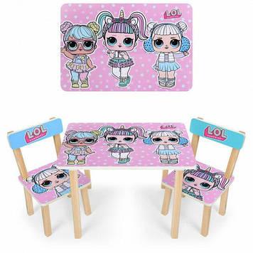 """Комплект деревянной мебели для девочки Столик и два стульчика деревянные Столик с двумя стульчиками """"LOL"""""""