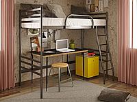 Двухъярусная металлическая кровать Fly Duo Cherdak (Флай Дуо Чердак) Метакам 80х200, Двухъярусная коричневая
