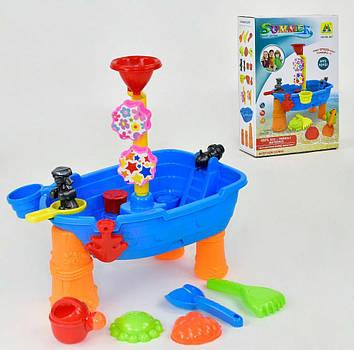 """Детский игровой столик-песочница """"Кораблик"""" Столик для игры с песком и водой Столик-песочницас аксессуарами"""